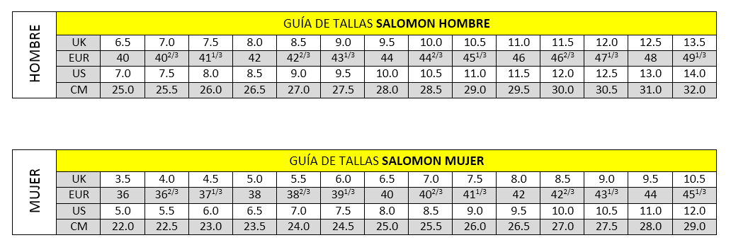 tallas salomon trail