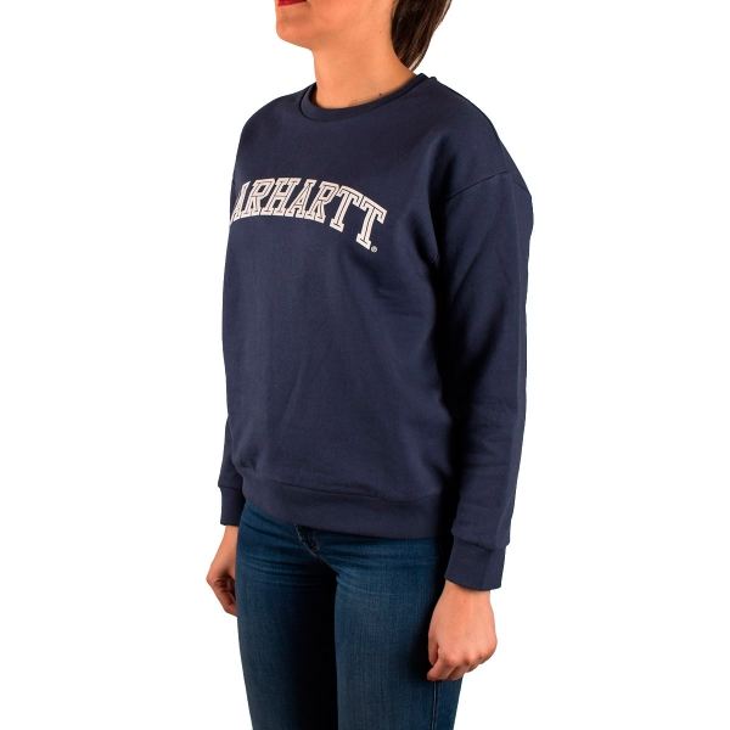 diseño novedoso fotos nuevas envío complementario Carhartt Sudadera Yale Sweat Blue White Azul Mujer