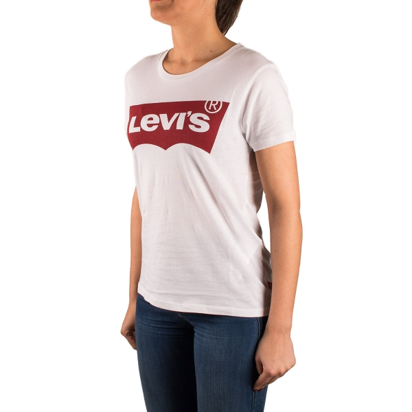 Levi's Camiseta The Perfect Tee Blanco y Rojo Mujer