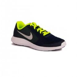 Nike Revolution 3 GS Obsidian Mtcl Platinum Hasta Niño