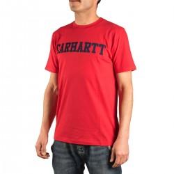 Carhartt Camiseta College Rojo Azul Chilli Navy Hombre