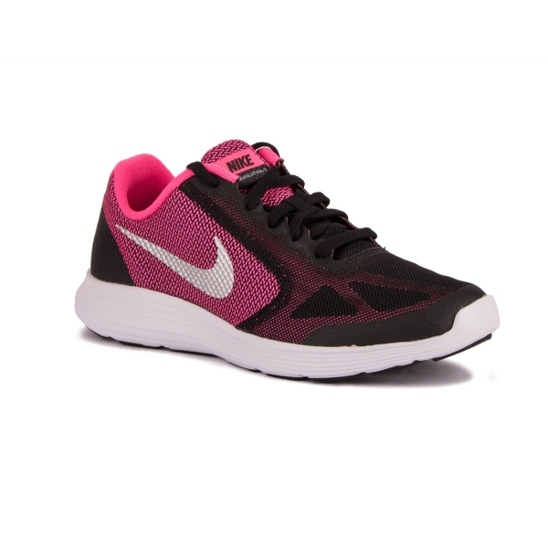 Nike Revolution 3 GS Black Silver Pink Rosa Negro Niño