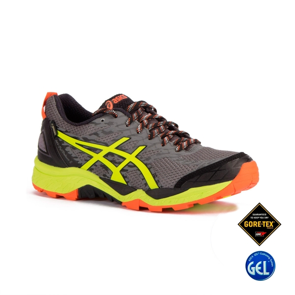 Asics Gel FujiTrabuco 5 GTX Shark Safety Yellow Black Gris Hombre