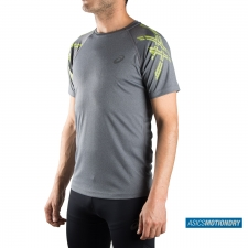 Asics camiseta Stripe SS Top Running Dark Grey Heather Gris Hombre