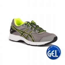 Asics Gel Galaxy 9 GS Aluminum Black safety Yellow Gris Fluor Niño
