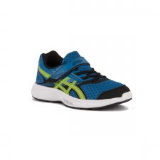 Asics Stormer PS Imperial Safety Yellow Black Azul Niño