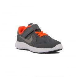 Nike Revolution 3 PSV Velcro Gris Naranja Cool Grey Niño