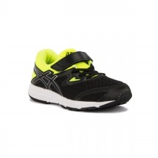 Asics Amplica PS Black Silver Safety Yellow Negro Amarillo Niño
