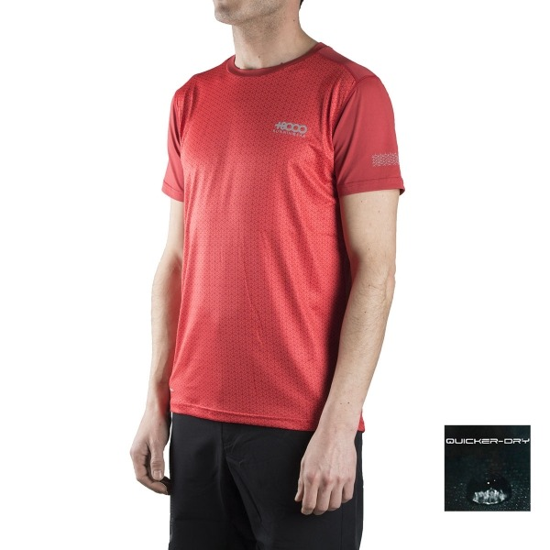 +8000 Camiseta Kamet 18V Rojo Estampado Hombre