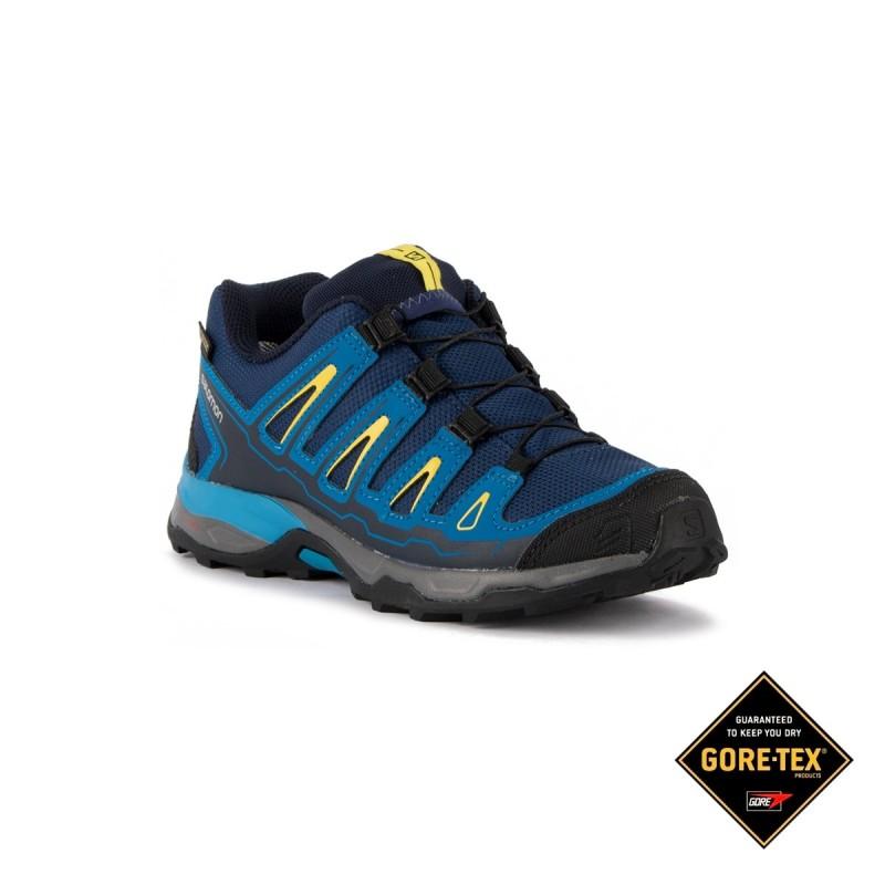 6a6ce1bf Salomon Zapatilla X Ultra GTX J Blue Depths Azul Amarillo Niño