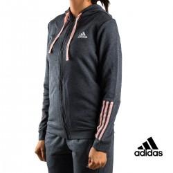 Adidas sudadera Com MS FZ Hood Gris mujer