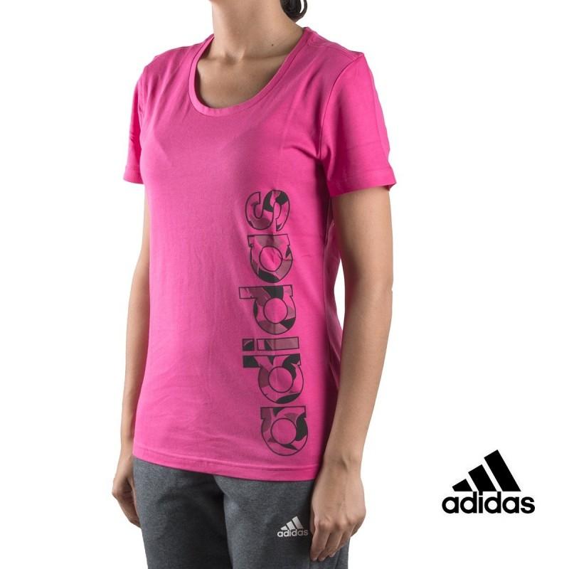 Adidas Camiseta AOP Linear Tee Rosa Mujer