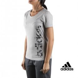 Adidas Camiseta AOP Linear Tee Gris Mujer