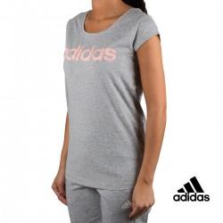 Adidas Camiseta W Com T Gris Rosa Mujer