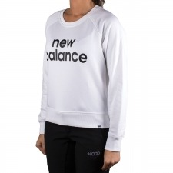 New Balance sudadera Essentials FT Crew Blanco Mujer