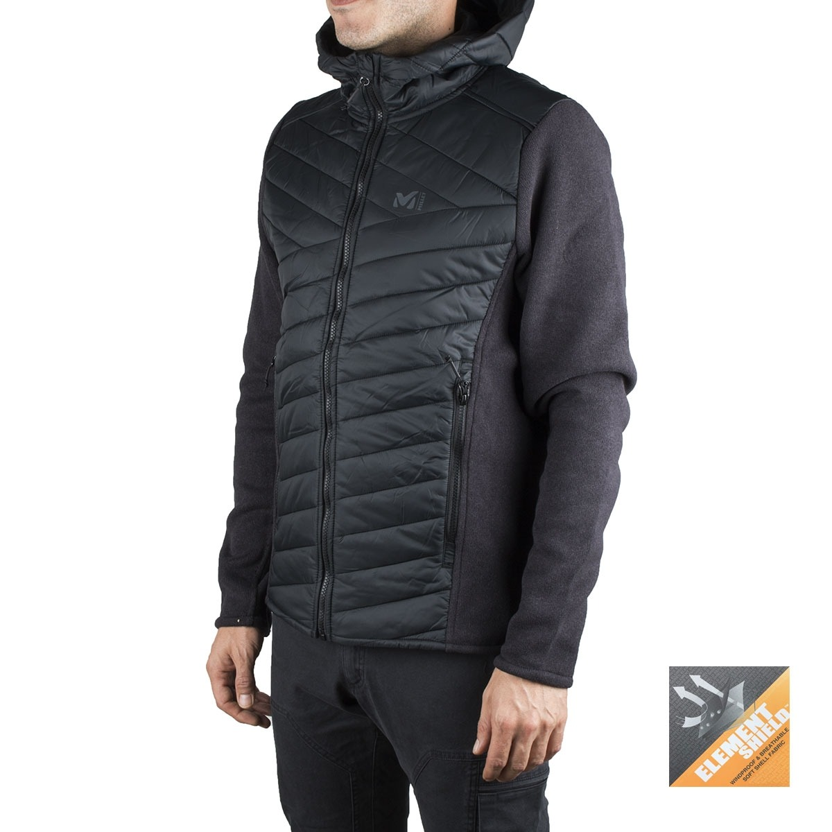 Millet Fibras Hickory Hybrid Hoodie Black Negro Hombre