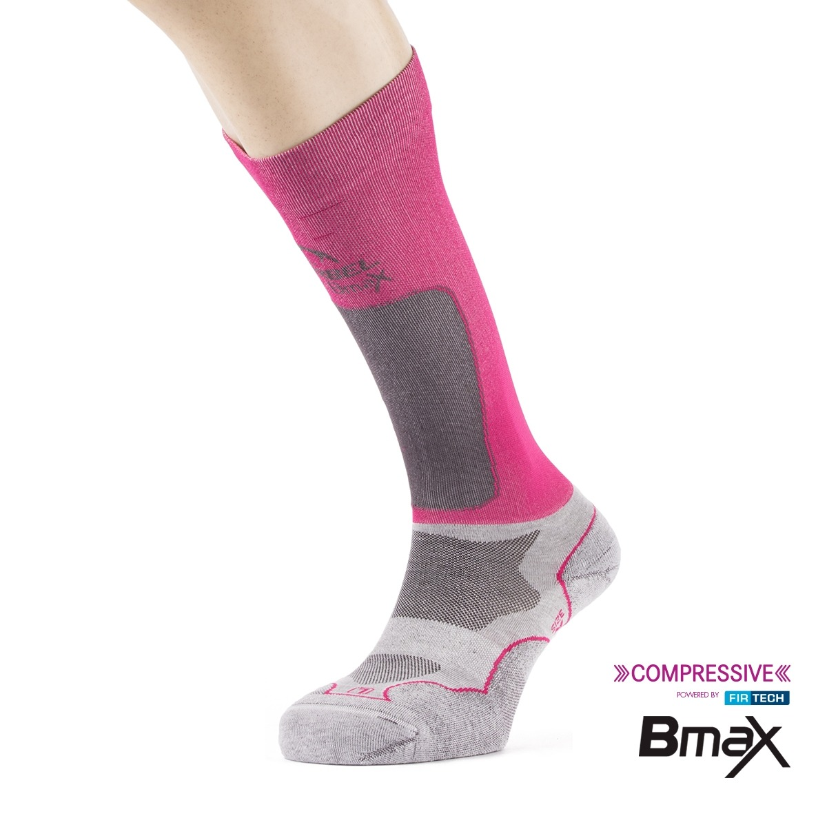 Lurbel Calcetines compresión Trail Plus W Ice Grey Fuchsia Gris Rosa Mujer