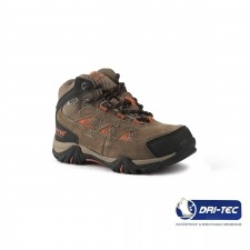 Hi-Tec Loga Mid WP CH Smokey Brown Red Rock Taupe Naranja Junior