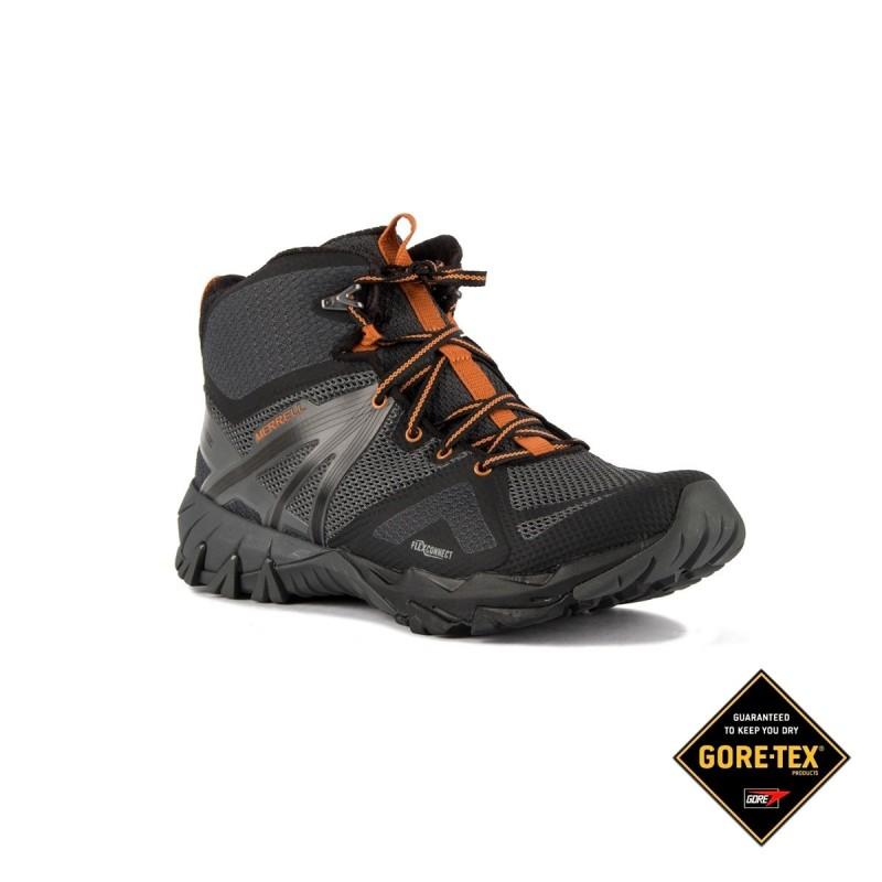 1aad006afad Merrell Bota MQM Flex Mid GTX Burnt Granite Gris Naranja Hombre