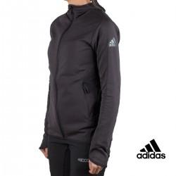 Adidas chaqueta running FL CC Hoodie Gris Negro mujer