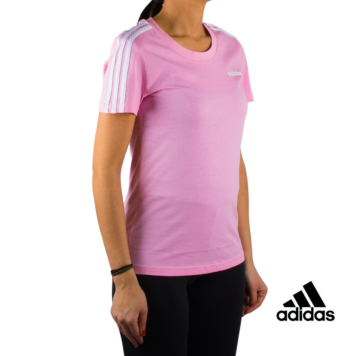 Adidas Camiseta Essentials 3 stripes slim tee Rosa true pink white Mujer