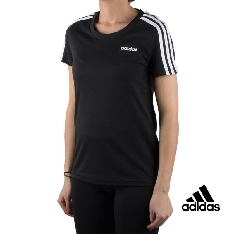 Adidas Camiseta Essentials 3 stripes slim tee negro black white Mujer