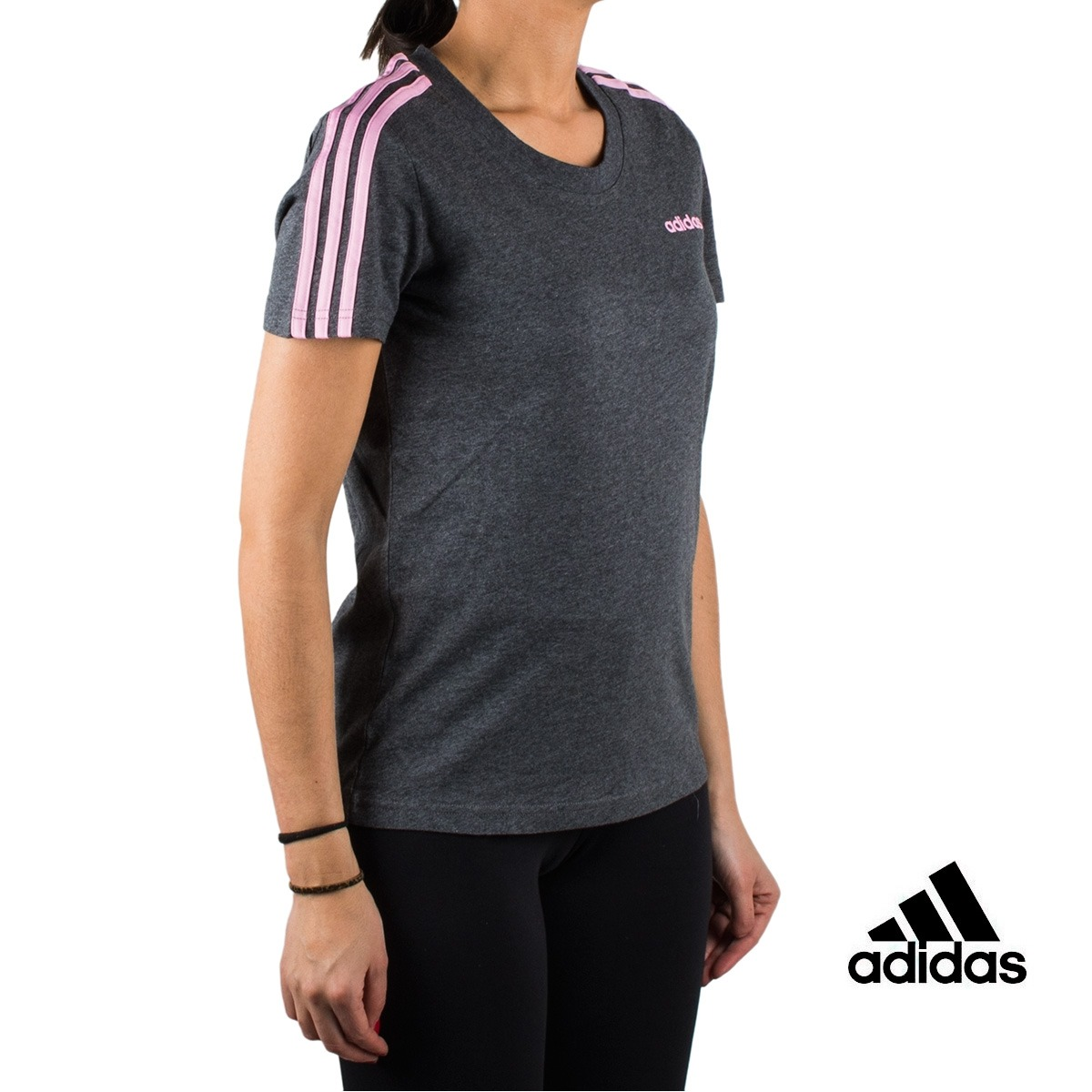 Adidas Camiseta Essentials 3 stripes slim tee gris grey true pink white Mujer