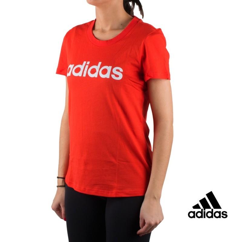 Rojo Slim Tee Adidas Essentials Red Camiseta Mujer Active Linear KcJlF1