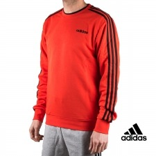 Adidas sudadera Essentials 3 Stripes Crewneck French Terry Rojo hombre