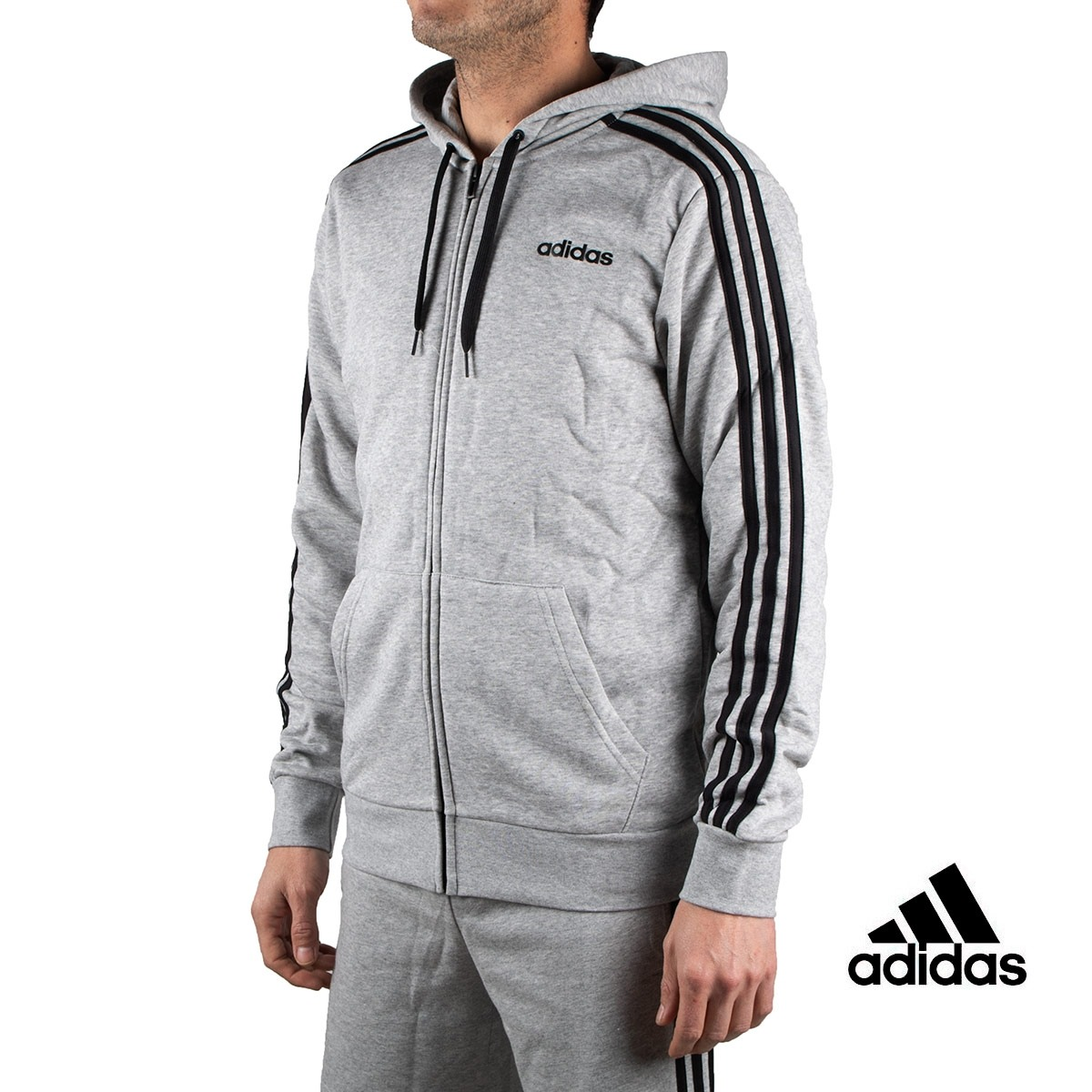 Adidas sudadera Essentials 3 Stripes Fullzip French Terry Gris hombre
