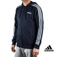 Adidas sudadera Essentials 3 Stripes Fullzip French Terry Azul Marino hombre