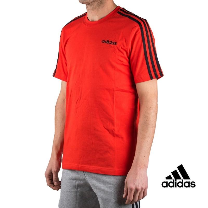 Adidas Camiseta Essentials 3 Stripes T-Shirt Rojo Hombre