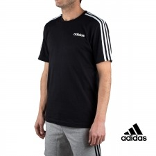 Adidas Camiseta Essentials 3 Stripes T-Shirt Negro Hombre