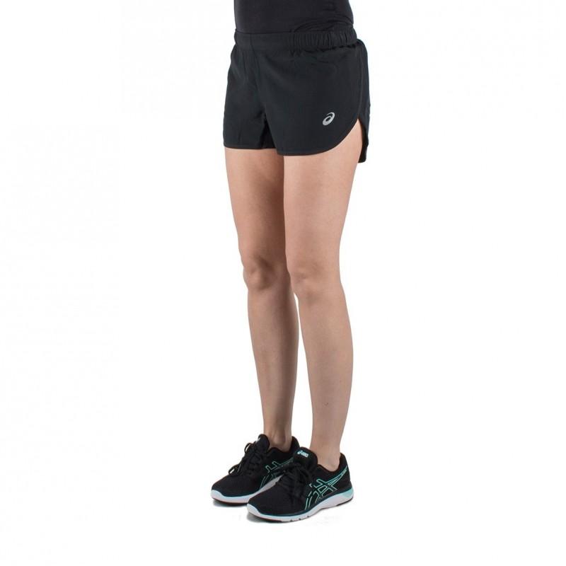 misil Facultad Lujo  Asics pantalón corto Silver Split Short Performance Black Negro mujer