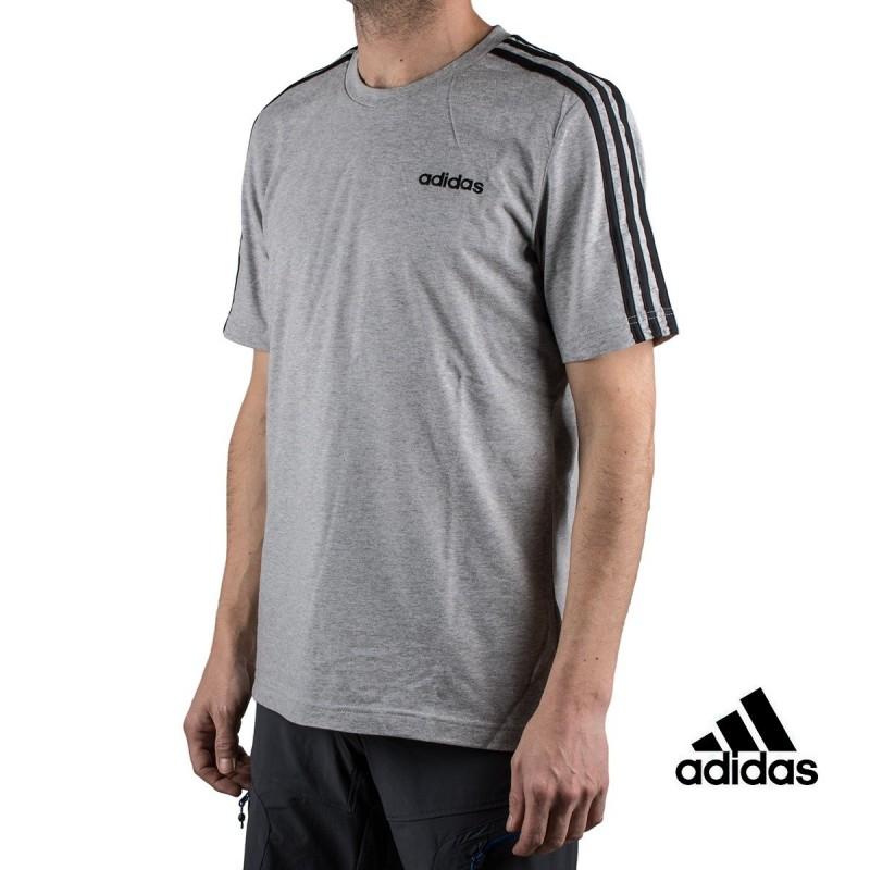 124d0d3a1260c Hombre Adidas Camiseta Essentials 3 Stripes T-Shirt Gris Hombre