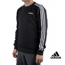 Adidas sudadera Essentials 3 Stripes Crewneck French Terry Negro hombre