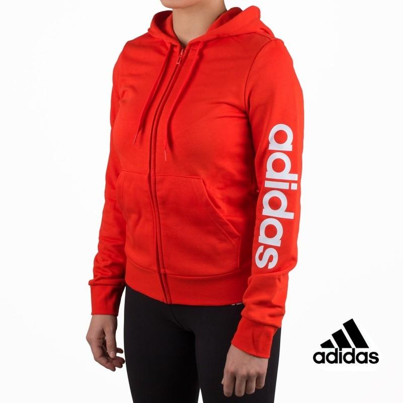 6ffb3a753ec9 Adidas sudadera W E Lin FZ HD Actred White Rojo mujer