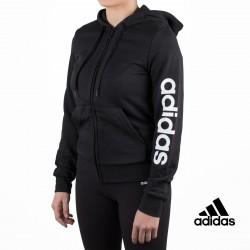Adidas sudadera Essentials Linear Full Zip Hoodie Negro mujer