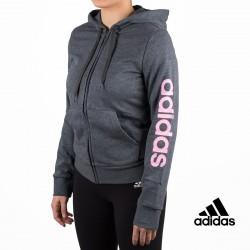 Adidas sudadera Essentials Linear Full Zip Hoodie Gris mujer