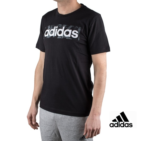 Adidas Camiseta Essentials Linear Box Al Over Print T-shirt Negro Hombre