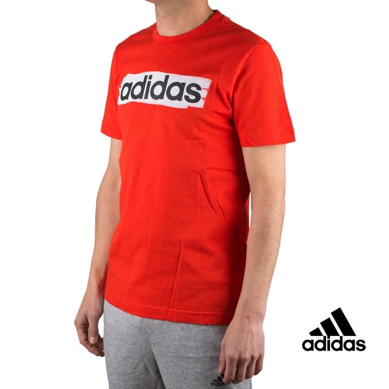 Adidas Camiseta Essentials Linear Brush T-shirt Rojo Hombre