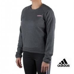 Adidas sudadera Essentials Season Motion Crew Gris Rosa mujer