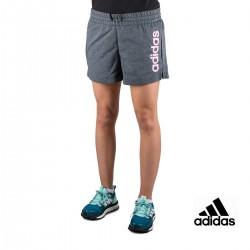 Adidas Pantalón corto Essentials Linear Logo Gris Rosa Mujer