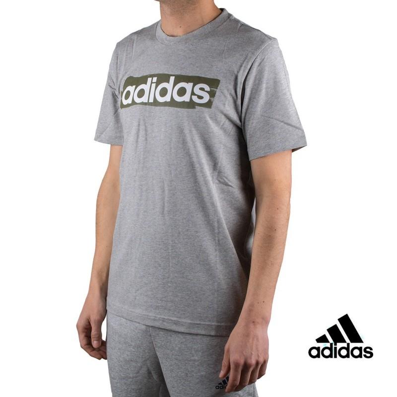 Adidas Camiseta Essentials Linear Brush T-shirt Gris Hombre