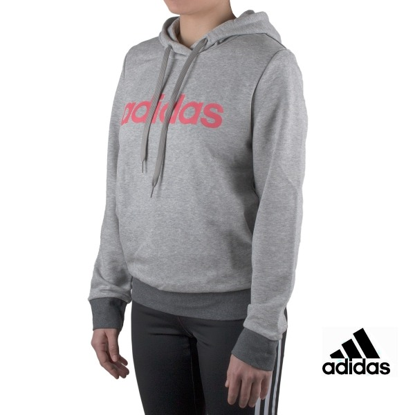 Adidas sudadera Essentials Linear Hoodie Gris mujer