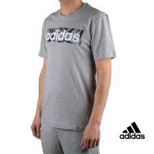 Adidas Camiseta Essentials Linear Box Al Over Print T-shirt Gris Hombre