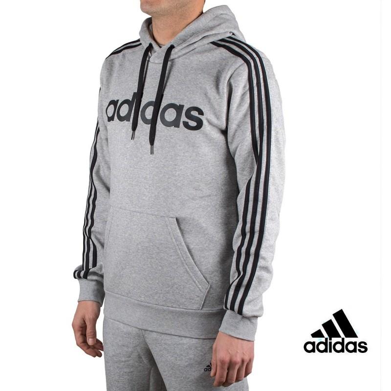 Adidas sudadera Essentials 3 Stripes Pullover Fleece Gris hombre
