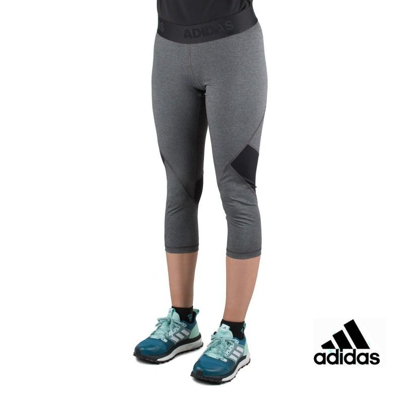 Adidas Mallas 3/4 Alphaskin Sport Heather Gris Negro Mujer