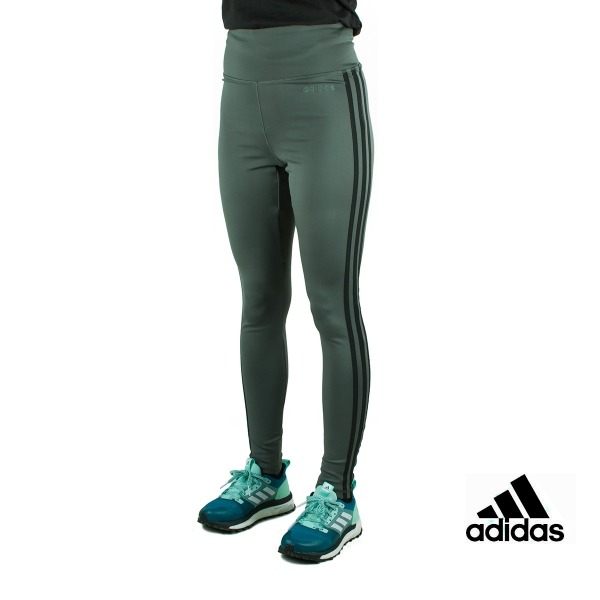 Adidas Mallas largas Design 2 Move High Rise 3 bandas Verde Mujer