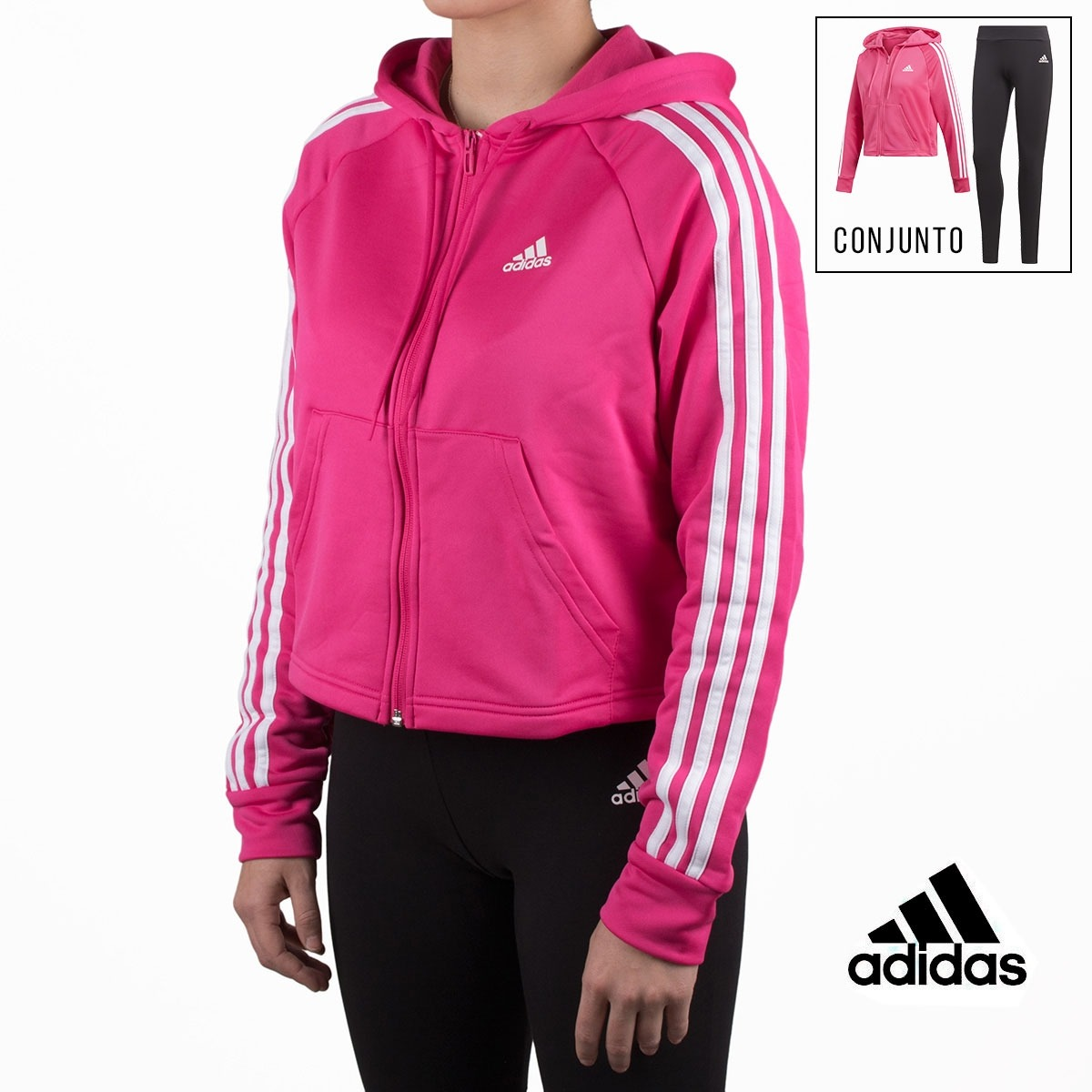 Adidas chándal conjunto Hoodie and Tights rosa y negro mujer